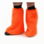Fluffy leg warmers. One size fits all. Orange