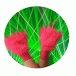 Fluffy wrist cuffs. One size fits all. Pink