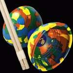 Colourful Jester Diabolo - Rainbow and basic wooden hand sticks