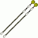 Poi Chain Black Oval 35cm with Yellow Ball Handle 48cm