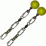 Poi Chain Black Oval 15cm with Yellow Ball Handle 28cm