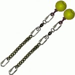 Poi Chain Black Oval 20cm with Yellow Ball Handle 33cm