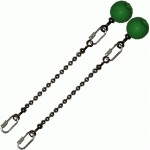 Poi Chain Ball 8mm 15cm with Green Handle 24cm